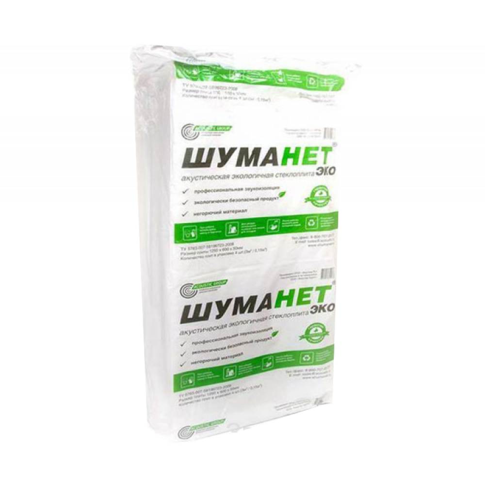 Шуманет-ЭКО Акустическая минплита 1250х600х50 мм  в упаковке: 4 шт. 3м²